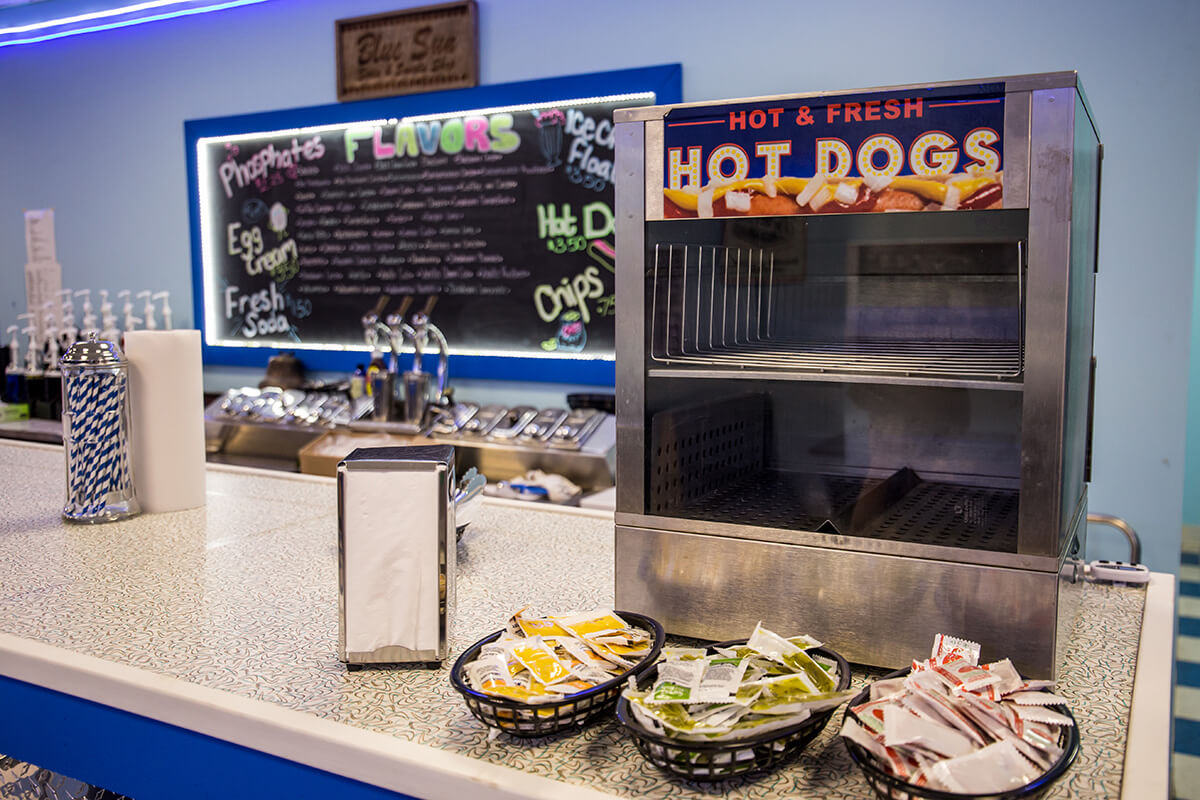 Image of a Hot Dog Machine on a Counter