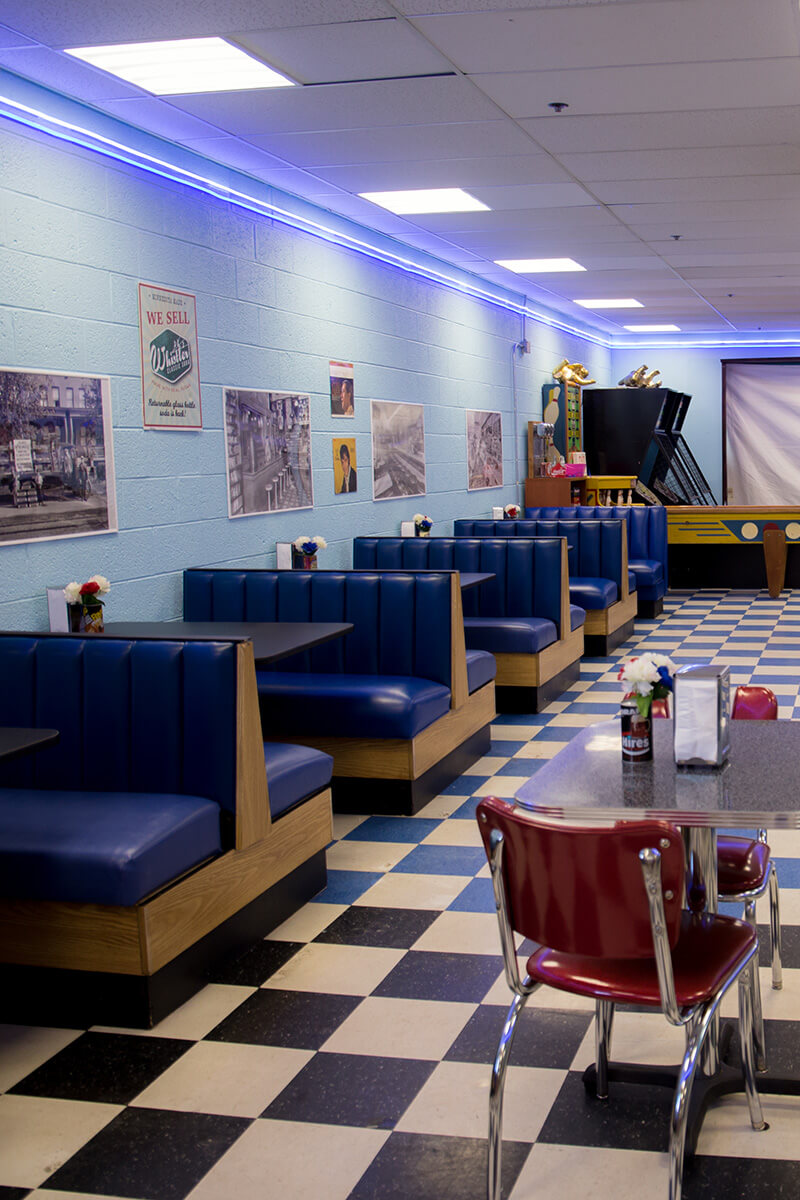 Image of the Booths at Blue Sun Soda Fountain