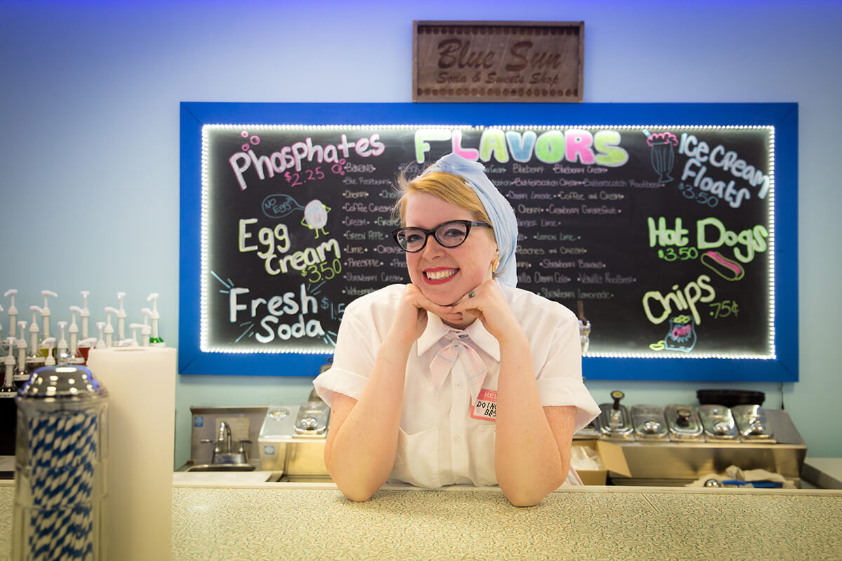 Image of a Girl Working the Soda Fountain