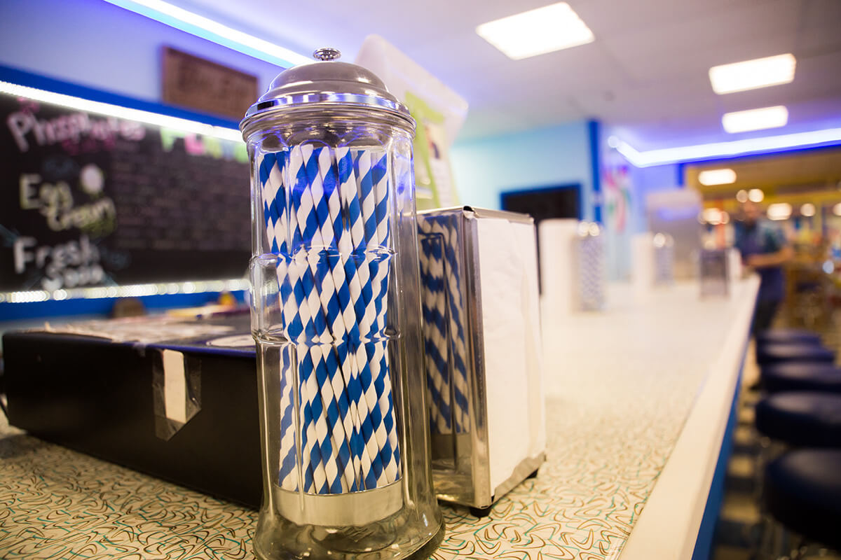 Image of Straws and Napkins on a Diner Counter